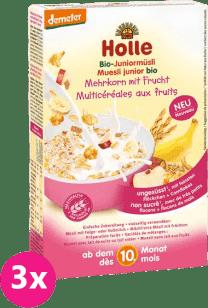 3x HOLLE Organické junior müsli vícezrnné s ovocem, 250g