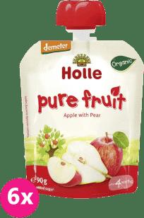 6x HOLLE Bio ovocné pyré jablko a hruška, 90g