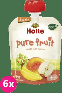 6x HOLLE Bio ovocné pyré jablko a mango, 90g