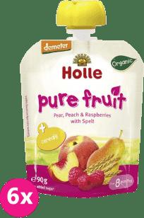 6x HOLLE Bio ovocné pyré hruška, broskev, maliny se špaldou, 90g
