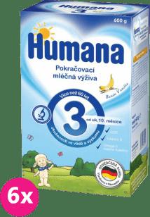 6x HUMANA 3 banán a vanilka (600 g) - dojčenské mlieko