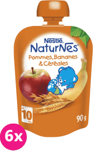 6x NESTLÉ Naturnes Banán / Jablko / Ovos 90g - ovocná kapsička