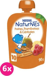 6x NESTLÉ Naturnes Hruška / Banán / Malina / Cereálie 90g - ovocná kapsička