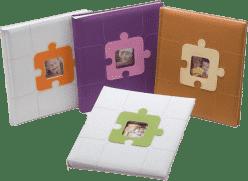 FOTOALBUM dětské na růžky - bílooranžové (puzzle)