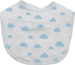 GLOOP Podbradník z organickej bavlny Blue Clouds (2ks)