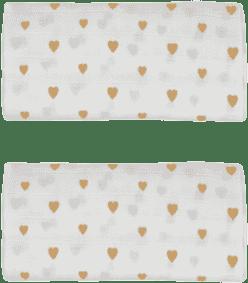 GLOOP Mušelínová plena 50x50 Little Hearts (2ks)