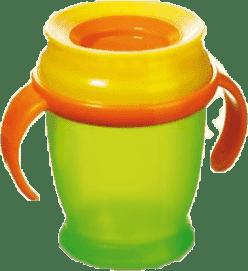 LOVI Hrníček 360˚ MINI 210ml s úchyty - zelená