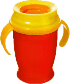 LOVI Hrníček 360˚ JUNIOR 250ml s úchyty – červená