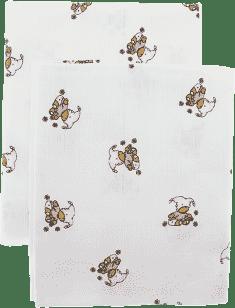Libsztackie pieluszki Dziecięce bawełniane pieluszki 90x100 cm, nadruk, 2 szt., Niedźwiadek w różowy