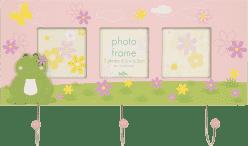 FOTORÁM ružový Cute Frog s vešiakom na kľúče pre 3 fotografie 6,5x6,5 cm