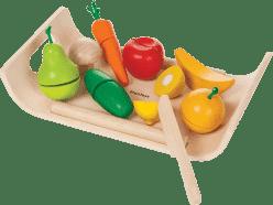 PLAN TOYS, Warzywa i owoce na tacy, zestaw