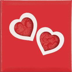 FOTOALBUM červený Love Hearts pre 200 fotografií 10x15 cm