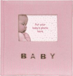 FOTOALBUM ružový Baby Gingham pre 100 ks fotografií 10x15 cm