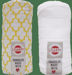 LODGER Multifunkčný osuška Swaddler balenie 2ks - Gold / White