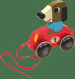 VILAC Drevená hračka - Drevený ťahacie psík v autíčku