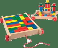 WOODY Vozík s kockami malý (34 dielov)