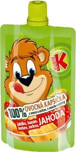 KUBÍK 100% Ovocná Kapsička jahoda, banán, mrkev, jablko