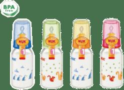 NUK Szklana butelka 125 ml smoczek R1 (silikon) – różowa