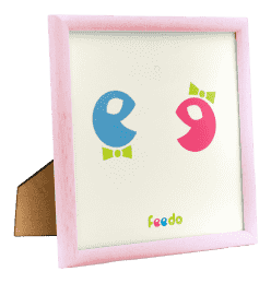FEEDO Drevený ručne vyrábaný rámik ružový