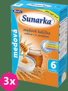3x SUNARKA Medová kašička mliečna 225g