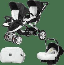 CASUALPLAY Zestaw Wózek dla bliźniąt Stwinner, 2x Fotelik samochodowy Baby 0plus i Torba 2016 - Ice