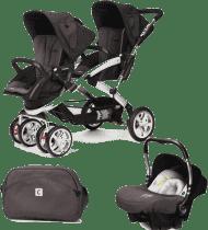 CASUALPLAY Set kočárek pro dvojčátka Stwinner, 2x autosedačka Baby 0plus a Bag 2015 - Lava rock