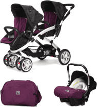 CASUALPLAY Set kočík pre dvojičky Stwinner, 2 x autosedačka Baby 0plus a Bag 2016 - Plum