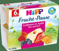 HIPP BIO ovocný príkrm Jablká s jahodami a čučoriedkami 4x100g