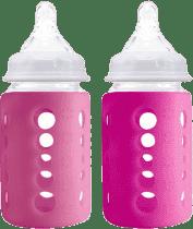 CHERUB Baby sklenená fľaša s obalom, ktorý mení farbu podľa teploty nápoja 2 ks - Ružová