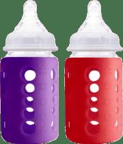 CHERUB Baby skleněná lahev s obalem, který mění barvu dle teploty nápoje 2 ks - Červená/ Fialová