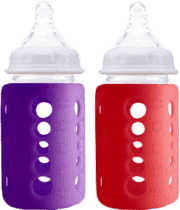 CHERUB Baby sklenená fľaša s obalom, ktorý mení farbu podľa teploty nápoja 2 ks - Červená / Fialová