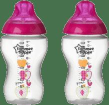 TOMMEE TIPPEE Dojčenská fľaša s obrázkami C2N, 2ks, 340ml, 3 + m-ružová