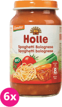 6x HOLLE Bio Spaghetti Bolognese  - masozeleninový příkrm, 220g