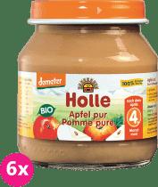 6x HOLLE Bio 100% jabĺčko - ovocný príkrm, 125g