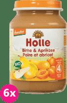 6x HOLLE Bio Hruška a marhuľa - ovocný príkrm, 190g