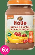 6x HOLLE Bio Banán a Čerešne - ovocný príkrm, 190g