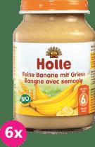 6x HOLLE Bio Jemné banány s krupicí - ovocný příkrm, 190g
