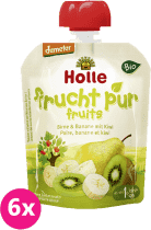 6x HOLLE Bio ovocné pyré hruška, banán s kivi, 90g