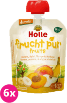 6x HOLLE Bio ovocné pyré banán, jablko, mango a marhuľa, 90g