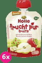 6x HOLLE Bio ovocné pyré jablko, banán a hruška, 90g