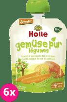 6x HOLLE Bio pyré mrkva, sladký zemiak, hrášok, 90g