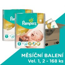 PAMPERS Premium Care 1 NEWBORN + Premium Care 2 MINI 168ks, MĚSÍČNÍ ZÁSOBA - jednorázové pleny