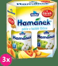 3x HAMÁNEK kojenecká výživa Duopack Jablko 2ks + piškoty, (6x190g)