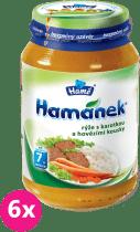 6x HAMÁNEK Rýže s karotkou a hovězími kousky (230 g) - maso-zeleninový příkrm