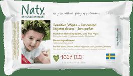 NATY NATURE BABYCARE ECO Sensitive 56 szt., niearomatyzowane - chusteczki nawilżane
