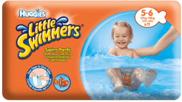 HUGGIES® Little Swimmers rozmiar 5-6 (12-18kg) 11 szt. – jednorazowe pieluchy do pływania