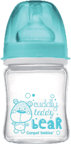 CANPOL Babies Fľaša EasyStart PURE glass 120 ml modrá