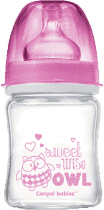 CANPOL Babies Láhev EasyStart PURE glass 120 ml růžová