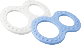 NUK modrej a bielej hryzátko 2ks