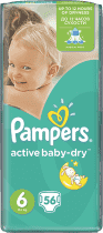 PAMPERS Active Baby 6 EXTRA LARGE 56 szt. (15+ kg) GIANT PACK – pieluszki jednorazowe